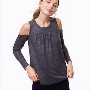 Loft grey sparkle long sleeve cold shoulder top